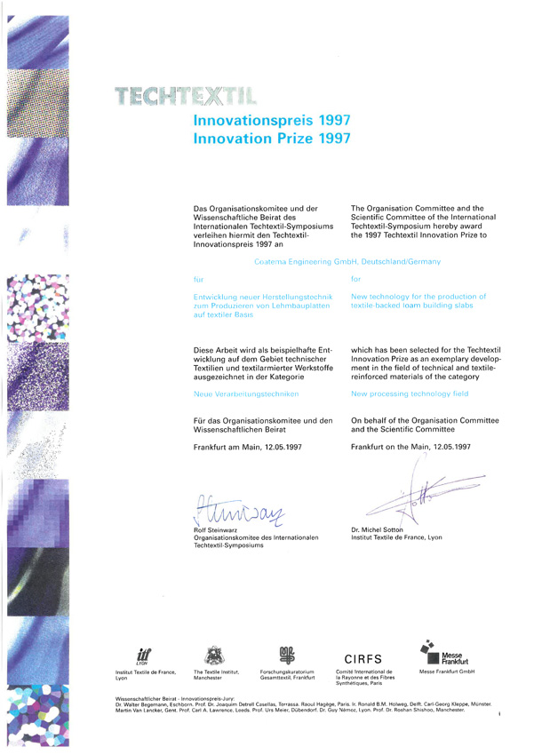 1997 Innovationspreis Techtextil